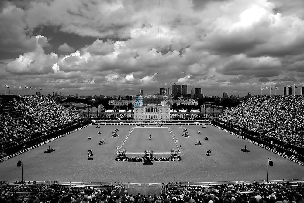 (note: this image was captured in black and white.)Jose Manuel Martin Dockx from Spain rides the horse Granioso during the equestrian dressage team event at Greenwich Park during day 6 of the London Olympic Games in London, England, United Kingdom on August 2, 2012. (note: this image was captured in black and white.).(Jed Jacobsohn/for The New York Times)....