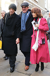 Cast members from Only Fools and Horses from left, Paul Barber, John Challis and Sue Holderness leaving the funeral of actor Roger Lloyd-Pack who played Trigger in the TV show,  at St.Paul's Church in  London, Thursday, 13th February 2014. Picture by Stephen Lock / i-Images