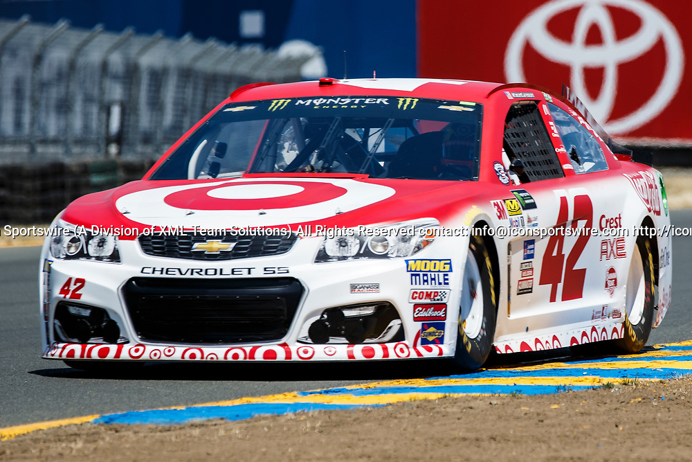 SONOMA, CA - JUNE 24:  Monster Energy NASCAR Cup Series driver Kyle Larson (42) took pole during qualification for the Monster Energy NASCAR Cup held at Sonoma Raceway on June 23-25, 2017. (Photo by Allan Hamilton/Icon Sportswire)
