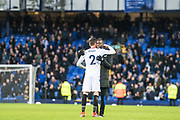 Crystal Palace #2 Joel Ward and Yannick Bolasie after the Premier League match between Everton and Crystal Palace at Goodison Park, Liverpool, England on 10 February 2018. Picture by Sebastian Frej.