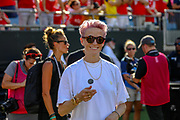 USA Woman's Soccer team forward Megan Rapinoe performs the ceremonial coin toss during an International Champions Cup game, Saturday, July 20, 2010, in Charlotte, NC. Arsenal defeated Fiorentina 3-0. (Brian Villanueva/Image of Sport)