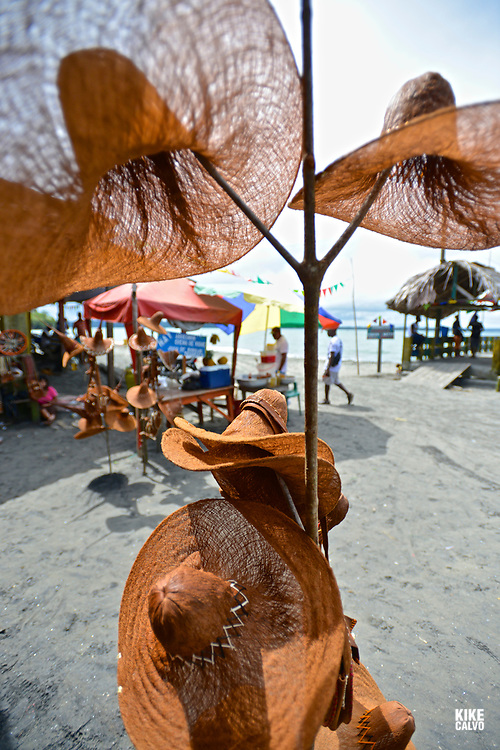 Hand-made hats on sale in  Ladrilleros Beach, National Natural Park of Uramba,  Bahia Malaga, Colombian Pacific Coast