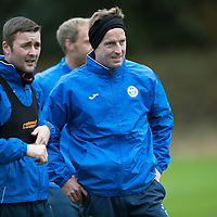 St Johnstone Training….14.10.16<br />Steven MacLean and Tam Scobbie pictured in training this morning atr McDiarmid Park ahead of tomorrows game against Kilmarnock<br />Picture by Graeme Hart.<br />Copyright Perthshire Picture Agency<br />Tel: 01738 623350  Mobile: 07990 594431