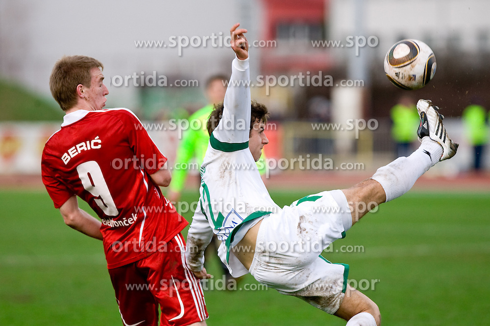 Robert Beric of Interblock vs Boban Jovic of Olimpija  at football match of 28th Round of 1st Slovenian League  between NK Interblock and NK Olimpija, on March 27, 2010, in ZAK Stadium, Ljubljana, Slovenia. Interblock defeated Olimpija 2-1. (Photo by Vid Ponikvar / Sportida)