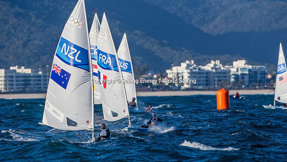 Sam Meech of New Zealand competes in the Laser class racing. The Rio 2016 Olympic Sailing Competition features 380 athletes from 66 nations, in 274 boats racing across ten Olympic disciplines. Racing runs from Monday 8 August through to Thursday 18 August 2016 with 217 male and 163 female sailors racing out of Marina da Gloria in Rio de Janeiro, Brazil. Sailing made its Olympic debut in 1900 and has been a mainstay at every Olympic Games since 1908. For more information or requests please contact Daniel Smith at World Sailing on marketing@sailing.org or phone +44 (0) 7771 542 131.