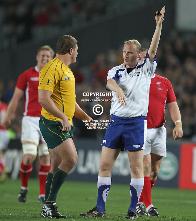 AUCKLAND, NEW ZEALAND - OCTOBER 21, Referee Wayne Barnes during the 2011 IRB Rugby World Cup 3rd &amp; 4th playoff match between Australia and Wales at Eden Park on October 21, 2011 in Auckland, New Zealand<br /> Photo by Steve Haag / Gallo Images