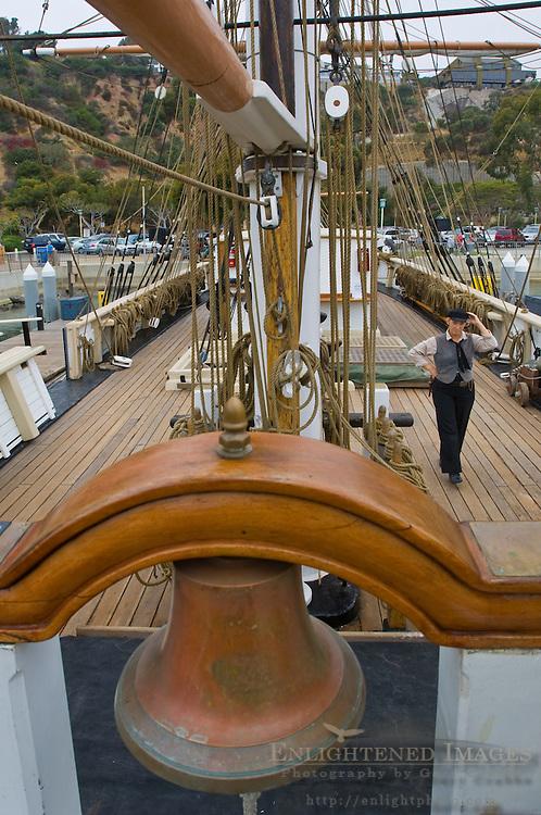 Brass ships bell on The Pilgrim, tall ship docked at Dana Point Harbor, Orange County, California