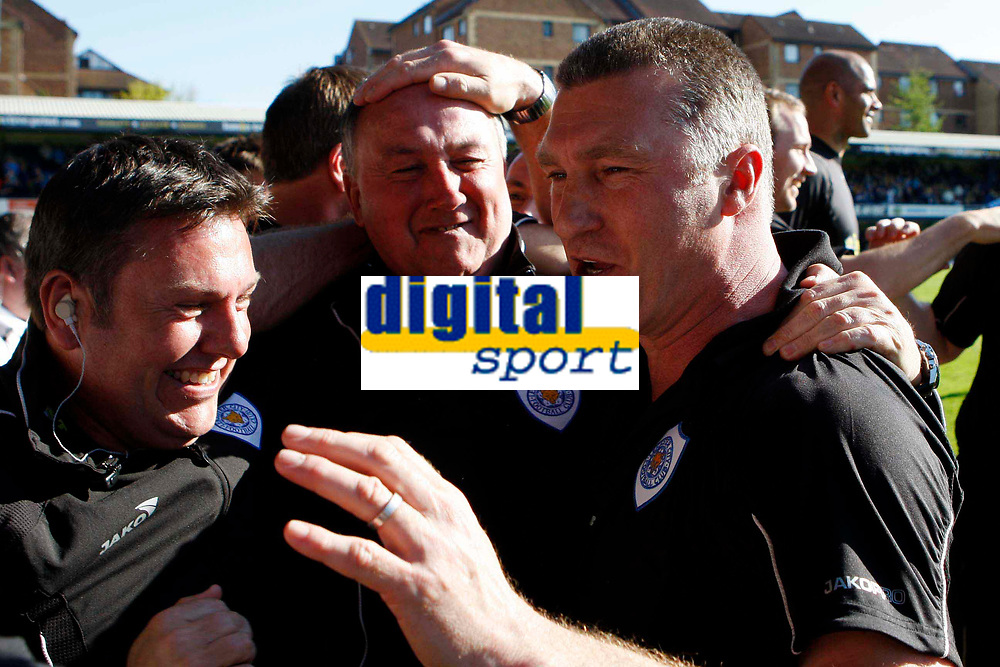 Coca-Cola League One - Southend United vs. Leicester City<br /> Leicester City manager Nigel Pearson (right) celebrates his side winning the league with his coaching staff.<br /> Credit: Colorsport/ Garry Bowden