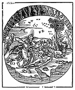 God creating Eve from Adam's rib. 'Bible' Genesis. Illustrates Thales' concept of flat earth floating on water with air and fire above. Four Greek elements. From 'Margarita Philosophica' (The Pearl of Philosophy) by Gregor Reisch (Basle, 1508).  Woodcut.