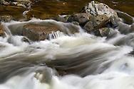 The Capilano River flows around some rocks near the Capilano Fish Hatchery, North Vancouver, British Columbia.