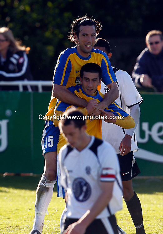 Central's Emiliano Tade celebrates scoring his 2nd goal. 2012 Chatham Cup, Third Round, Central United v Waitakere City FC, Kiwitea Street Auckland, Sunday 24th June 2012. Photo: Shane Wenzlick