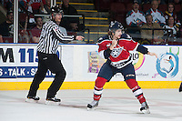 KELOWNA, CANADA - MARCH 28: Josh Thrower #2 of the Tri-City Americans drops the gloves against Tyrell Goulbourne #12 of the Kelowna Rockets during game 5 of the first round of WHL playoffs on March 28, 2014 at Prospera Place in Kelowna, British Columbia, Canada.   (Photo by Marissa Baecker/Shoot the Breeze)  *** Local Caption *** Josh Thrower;