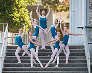 The Dance Connection Palo Alto Ballet Company poses for portraits in downtown Palo Alto, California, on September 8, 2017. (Stan Olszewski/SOSKIphoto)
