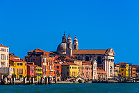 Buildings along the waterfront along the Venice lagoon, Venice, Italy.