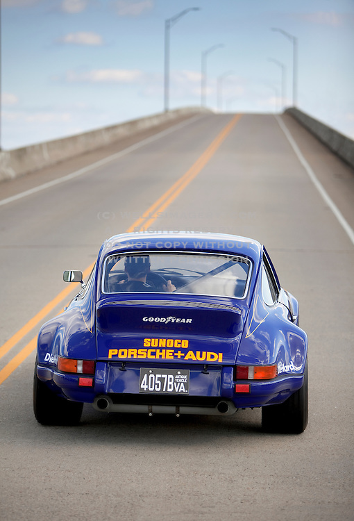 Image of a blue 1973 Sunoco RSR tribute car on a road in Virginia, Porsche 911 RSR, model and property released