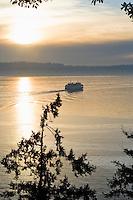 A Washington State Ferry running on the Puget Sound between Seattle and Vashon Island, Washington State, USA.