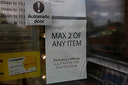 A shot of a sign saying 'Max 2 of Any Item' <br /> <br /> Ben Booth | 20/03/2020