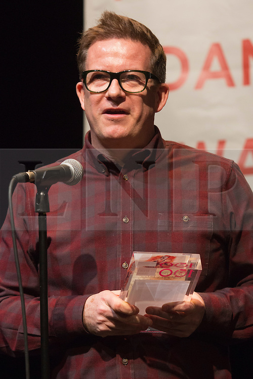 """© Licensed to London News Pictures. 27 January 2014. London, England. Pictured: Matthew Bourne is awared the De Valois Award for Outstanding Achievement. The Critics' Circle National Dance Awards 2013 take place at """"The Place"""" in London. Photo credit: Bettina Strenske/LNP"""