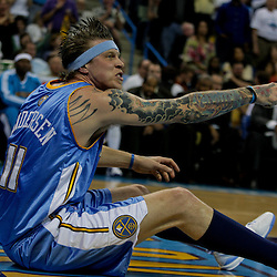 27 April 2009: Denver Nuggets center Chris Andersen (11) reacts following a play during game four of the NBA Western Conference Quarterfinals playoffs between the New Orleans Hornets and the Denver Nuggets at the New Orleans Arena in New Orleans, Louisiana.