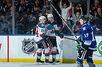 KELOWNA, CANADA - FEBRUARY 12:  Kyle Topping #24 and Kole Lind #16 of the Kelowna Rockets celebrate a goal against the Victoria Royals on February 12, 2018 at Prospera Place in Kelowna, British Columbia, Canada.  (Photo by Marissa Baecker/Shoot the Breeze)  *** Local Caption ***