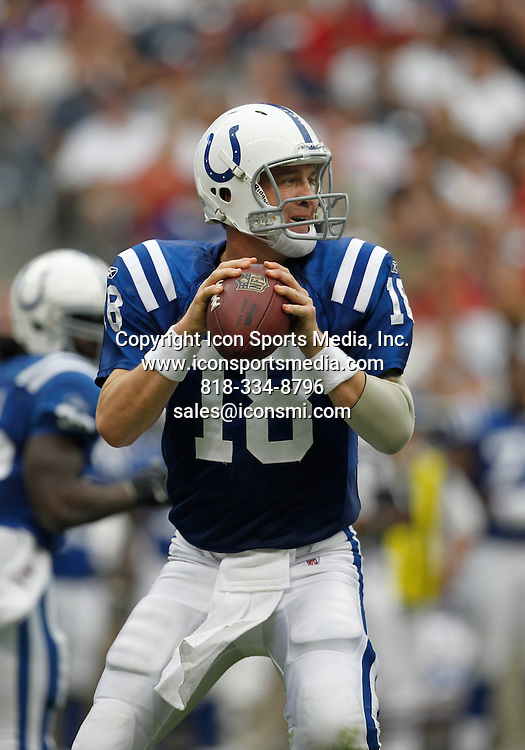 12 September 2010:<br /> Indianapolis Colts quarterback Peyton Manning (18) drops back to pass the ball downfield in the second half of the Indianapolis Colts vs. Houston Texans football game at Reliant Stadium on Sunday September 12, 2010 in Houston, Texas. Houston won 34-24.