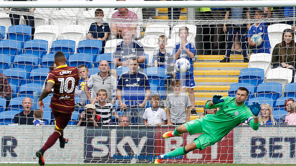 Tjaronn Chery of Queens Park Rangers scores the second goal during the Sky Bet Championship match at the Cardiff City Stadium, Cardiff<br /> Picture by Mike Griffiths/Focus Images Ltd +44 7766 223933<br /> 14/08/2016