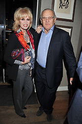 JOANNA LUMLEY and DAVID WYNNE-MORGAN attend the MARC Restaurants Truffle Dinner hosted by Marlon & Nadya Abela at Cassis, 232-236 Brompton Road, London on 13th February 2013.