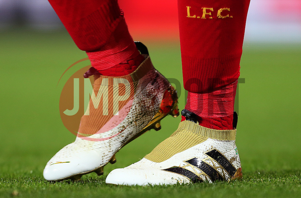 The laceless Adidas football boots worn by Roberto Firmino of Liverpool - Mandatory by-line: Matt McNulty/JMP - 22/10/2016 - FOOTBALL - Anfield - Liverpool, England - Liverpool v West Bromwich Albion - Premier League