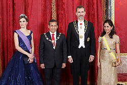 07.07.2015, Royal Palace, Madrid, ESP, Perus Präsident Ollanta Humala bei König Felipe IV, im Bild Spanish Royals King Felipe VI of Spain and Queen Letizia of Spain receive the president of the republic of Peru, Mr. Ollanta Humala Tasso, y Mss. Nadine Heredia Alarcon // during a visit of the President of Peru, Ollanta Humala at Spain's royal family at the Royal Palace in Madrid, Spain on 2015/07/07. EXPA Pictures © 2015, PhotoCredit: EXPA/ Alterphotos/ Victor Blanco<br /> <br /> *****ATTENTION - OUT of ESP, SUI*****