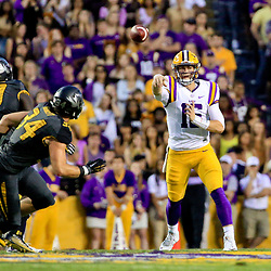Oct 1, 2016; Baton Rouge, LA, USA;  LSU Tigers quarterback Danny Etling (16) throws against the Missouri Tigers during the first quarter of a game at Tiger Stadium. Mandatory Credit: Derick E. Hingle-USA TODAY Sports