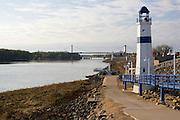 Clinton Iowa USA, Riverside park. Lighthouse on Mississippi River