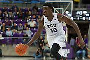FORT WORTH, TX - JANUARY 4: JD Miller #15 of the TCU Horned Frogs brings the ball up court against the West Virginia Mountaineers on January 4, 2016 at Ed and Ray Schollmaier Arena in Fort Worth, Texas.  (Photo by Cooper Neill/Getty Images) *** Local Caption *** JD Miller