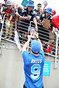 Jan 28, 2018; Orlando, FL, USA; NFC quarterback Drew Brees of the New Orleans Saints (9) signs autographs for fans before playing  in the 2018 NFL Pro Bowl at Camping World Stadium. The AFC defeated the NFC 24-23. (Steve Jacobson/Image of Sport)