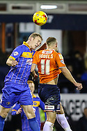 Jake Howells of Luton Town (right) and Mark Ellis of Shrewsbury Town (left) in an aerial battle during the Sky Bet League 2 match at Kenilworth Road, Luton<br /> Picture by David Horn/Focus Images Ltd +44 7545 970036<br /> 08/01/2015