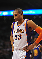 Jan. 2, 2012; Phoenix, AZ, USA; Phoenix Suns forward Grant Hill (33) reacts on the court against the Golden State Warriors at the US Airways Center. The Suns defeated the Warriors 102-91. Mandatory Credit: Jennifer Stewart-US PRESSWIRE...