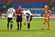 Bolton Wanderers Forward, Gary Madine (14) places the ball for a free kick during the EFL Sky Bet Championship match between Bolton Wanderers and Hull City at the Macron Stadium, Bolton, England on 1 January 2018. Photo by Mark Pollitt.
