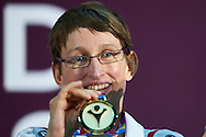 SO Poland athlete Teresa Cicha while medal ceremony after bowling competition during fifth day of the Special Olympics World Games Los Angeles 2015 on July 29, 2015 at Los Angeles Convention Centre in Los Angeles, USA.<br /> <br /> USA, Los Angeles, July 29, 2015<br /> <br /> Picture also available in RAW (NEF) or TIFF format on special request.<br /> <br /> For editorial use only. Any commercial or promotional use requires permission.<br /> <br /> Adam Nurkiewicz declares that he has no rights to the image of people at the photographs of his authorship.<br /> <br /> Mandatory credit:<br /> Photo by © Adam Nurkiewicz / Mediasport