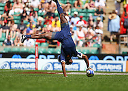 Tiwckenham, London - Sunday 23rd May 2010: Albert Valentin of France scores spectacularly during their Shield semi-final win against Italy during the Emirates London Sevens rugby tournament at Twickenham Stadium, London, UK. (Pic by Andrew Tobin/Focus Images)