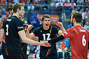 Poland, Krakow - 2017 September 03: Gert Van Walle from Belgium celebrates with teammates winning point while Third Place match between Belgium and Serbia during LOTTO EUROVOLLEY POLAND 2017 - European Championships in volleyball  at Tauron Arena on September 03, 2017 in Krakow, Poland.<br /> <br /> Mandatory credit:<br /> Photo by &copy; Adam Nurkiewicz<br /> <br /> Adam Nurkiewicz declares that he has no rights to the image of people at the photographs of his authorship.<br /> <br /> Picture also available in RAW (NEF) or TIFF format on special request.<br /> <br /> Any editorial, commercial or promotional use requires written permission from the author of image.