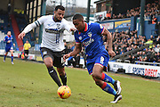 Bury Midfielder, Tom Soares looks to stop Oldham Athletic Forward, Dominic Poleon during the Sky Bet League 1 match between Oldham Athletic and Bury at Boundary Park, Oldham, England on 23 January 2016. Photo by Mark Pollitt.