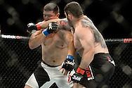 GLASGOW, SCOTLAND, JULY 18, 2015: Daniel Omielańczuk (black shorts with white stripe) defeats Chris De La Rocha via TKO during UFC Fight Night 72 inside the SSE Hydro Arena in Glasgow. (Martin McNeil for ESPN)