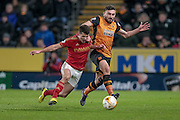 Eric Lichaj (Nottingham Forest) and Robert Snodgrass (Hull City) during the Sky Bet Championship match between Hull City and Nottingham Forest at the KC Stadium, Kingston upon Hull, England on 15 March 2016. Photo by Mark P Doherty.
