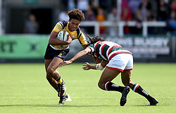 Dion King of Worcester Warriors hands off Jordan Olowofela of Leicester Tigers - Mandatory by-line: Robbie Stephenson/JMP - 30/07/2016 - RUGBY - Kingston Park - Newcastle, England - Worcester Warriors v Leicester Tigers - Singha Premiership 7s