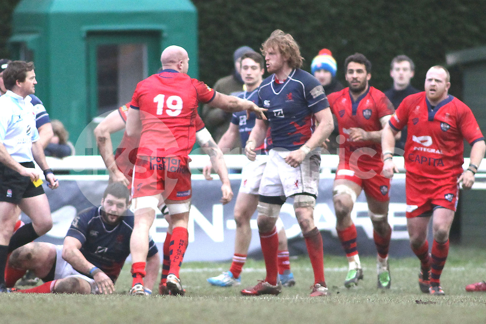 Josh Thomas Brown of London Scottish in action during the Green King IPA Championship match between London Scottish &amp; Bristol at Richmond, Greater London on 7th February 2015<br /> <br /> Photo: Ken Sparks | UK Sports Pics Ltd<br /> London Scottish v Bristol, Green King IPA Championship, 7th February 2015<br /> <br /> &copy; UK Sports Pics Ltd. FA Accredited. Football League Licence No:  FL14/15/P5700.Football Conference Licence No: PCONF 051/14 Tel +44(0)7968 045353. email ken@uksportspics.co.uk, 7 Leslie Park Road, East Croydon, Surrey CR0 6TN. Credit UK Sports Pics Ltd