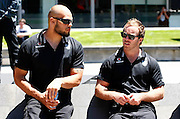 Sam Rapira (L) and Ian Henderson. Vodafone Warriors press conference to announce a 4 year sponsorship extension from Vodafone. Vodafone Head Office, Viaduct Harbour, Auckland.  Thursday 10 December 2009. Photo: Simon Watts/PHOTOSPORT
