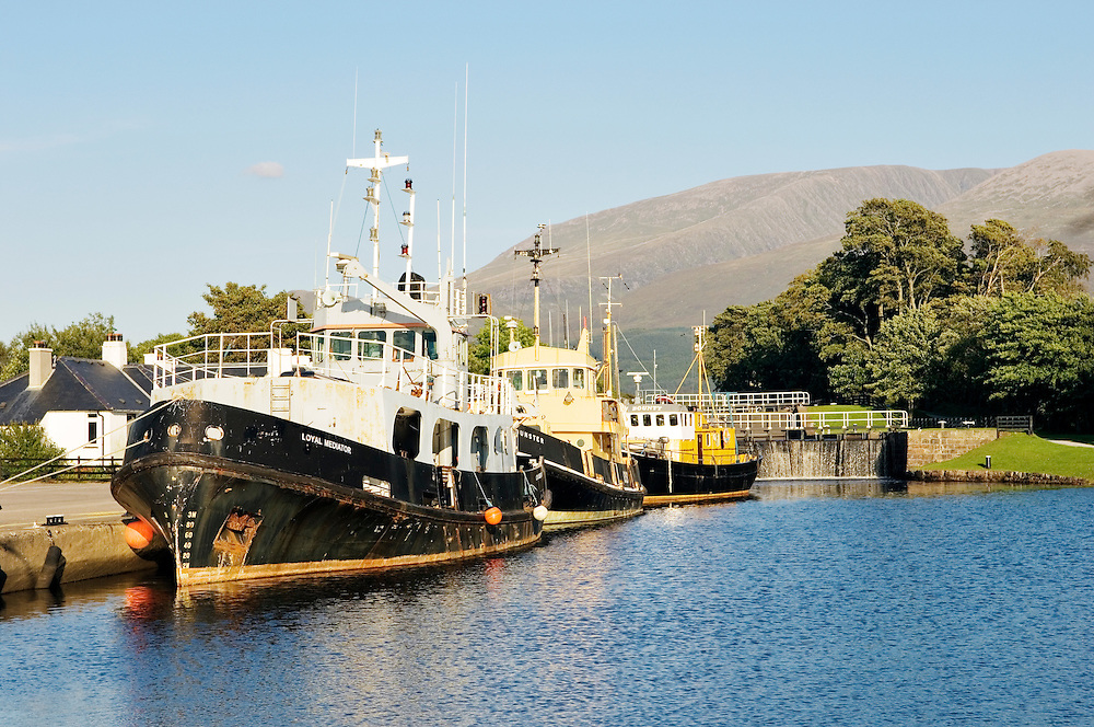 Boats berthed at the Caledonian Canal locks at the head of Loch Linnhe at Banavie near Fort William. Highland Region, Scotland