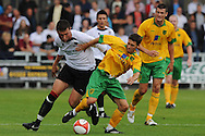 Dartford - Saturday July 11 2009: Wes Hoolahan of Norwich City and James White of Dartford during the friendly match at Princes Park. (Pic by Alex Broadway/Focus Images)..