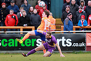 Danny Wright takes on Alex Woodyard during the Vanarama National League match between Braintree Town and Cheltenham Town at the Amlin Stadium, Braintree, United Kingdom on 19 March 2016. Photo by Carl Hewlett