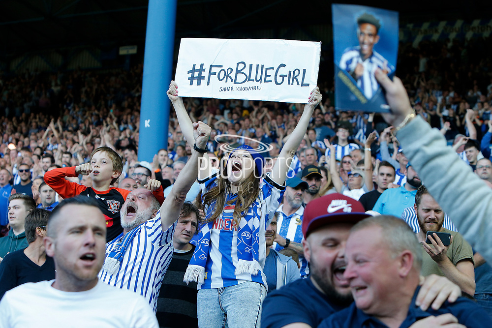 Fans of Sheffield Wednesday celebrate the goal scored by Atdhe Nuhiu of Sheffield Wednesday during the EFL Sky Bet Championship match between Sheffield Wednesday and Fulham at Hillsborough, Sheffield, England on 21 September 2019.