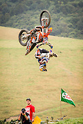 Backflip and heel-clicker at Farm Jam 2016, Southland, New Zealand, sponsored by Red Bull